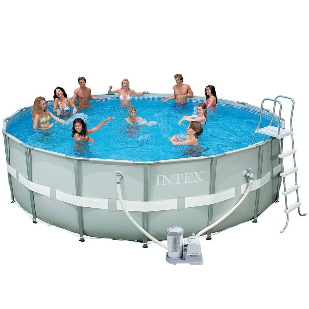 Intex zwembad ultra frame 488 x 122 cm met filterpomp for Zwembad met frame