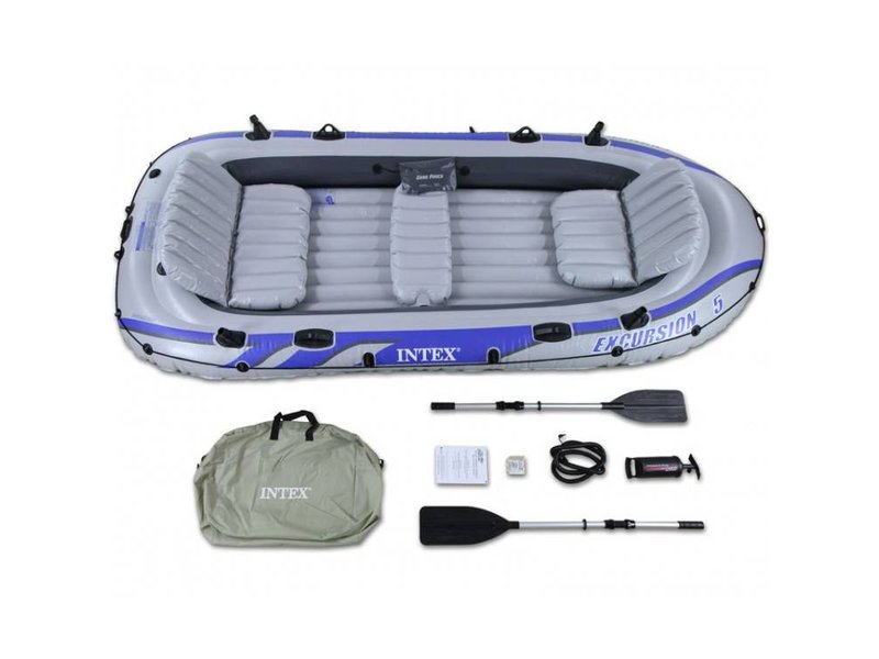 Intex Opblaasboot Excursion 5 Set Vijfpersoons (Incl. Peddels en Pomp)
