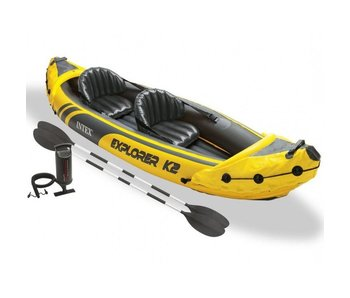 Intex Opblaasboot Explorer K2 Kajak Tweepersoons (Incl. Peddels en Pomp)