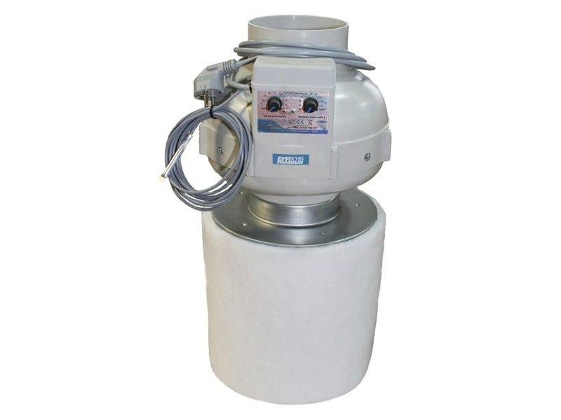 PK Kombo-Kit, PK Rohrventilator 125, temperaturgesteuert, 420 m³/h, PK-Carbon-Aktivkohlefilter