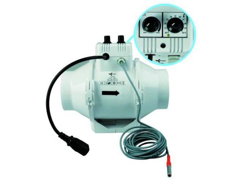 Ventilution Mixed In-Line 100/187 m³/h, für 100 mm Rohr, mit eingebautem Regler + Thermostat, IEC Connector