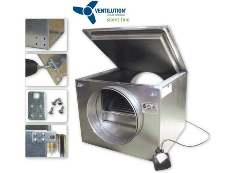 Ventilution Silent Line Box 100, V-100 schallgedämmt, 205 m³/h, 388 x 273 x 395 mm, ø 100 mm