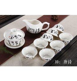 Thee met een Verhaal Chinese theeset porselein - tiendelig - tekens