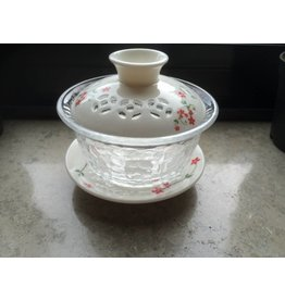 Thee met een Verhaal Gaiwan - 100ml - glas en rode bloemen