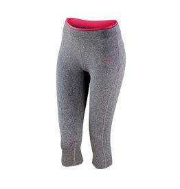 Spiro Fitness Women's Capri Pant Sport Grey Marl/ Hot Coral