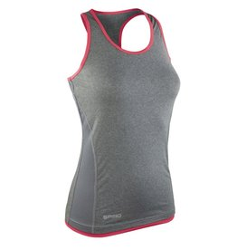 Spiro Women's Stringer Back Marl Top Grey Hot Coral