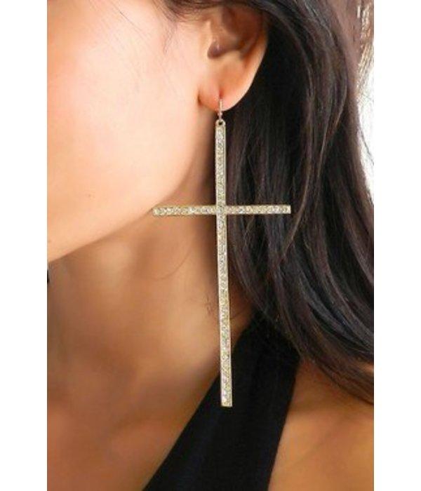XL Cross Earrings (Silver)