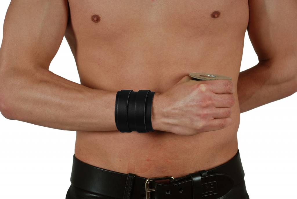 RoB Leather Wristband, 2 Buckles, Black