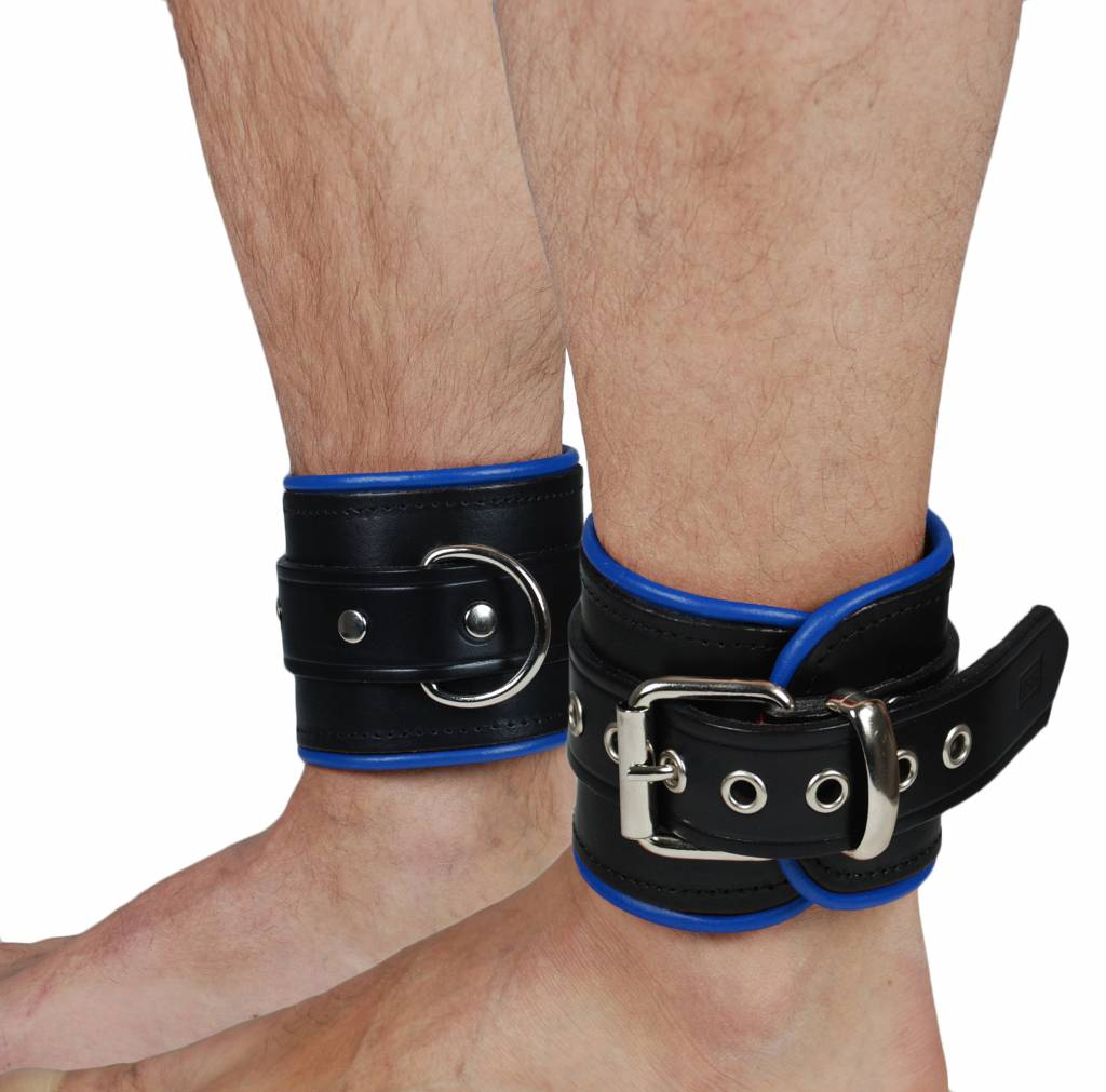 RoB Leather Ankle Restaints Blue Piping