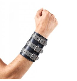 Soft Leather 3 Buckled Wristband Black with Grey Straps