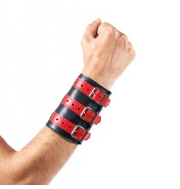 Soft Leather 3 Buckled Wristband Black with Red Straps