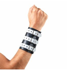 Soft Leather 3 Buckled Wristband Black with White Straps