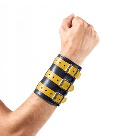 Soft Leather 3 Buckled Wristband Black with Yellow Straps