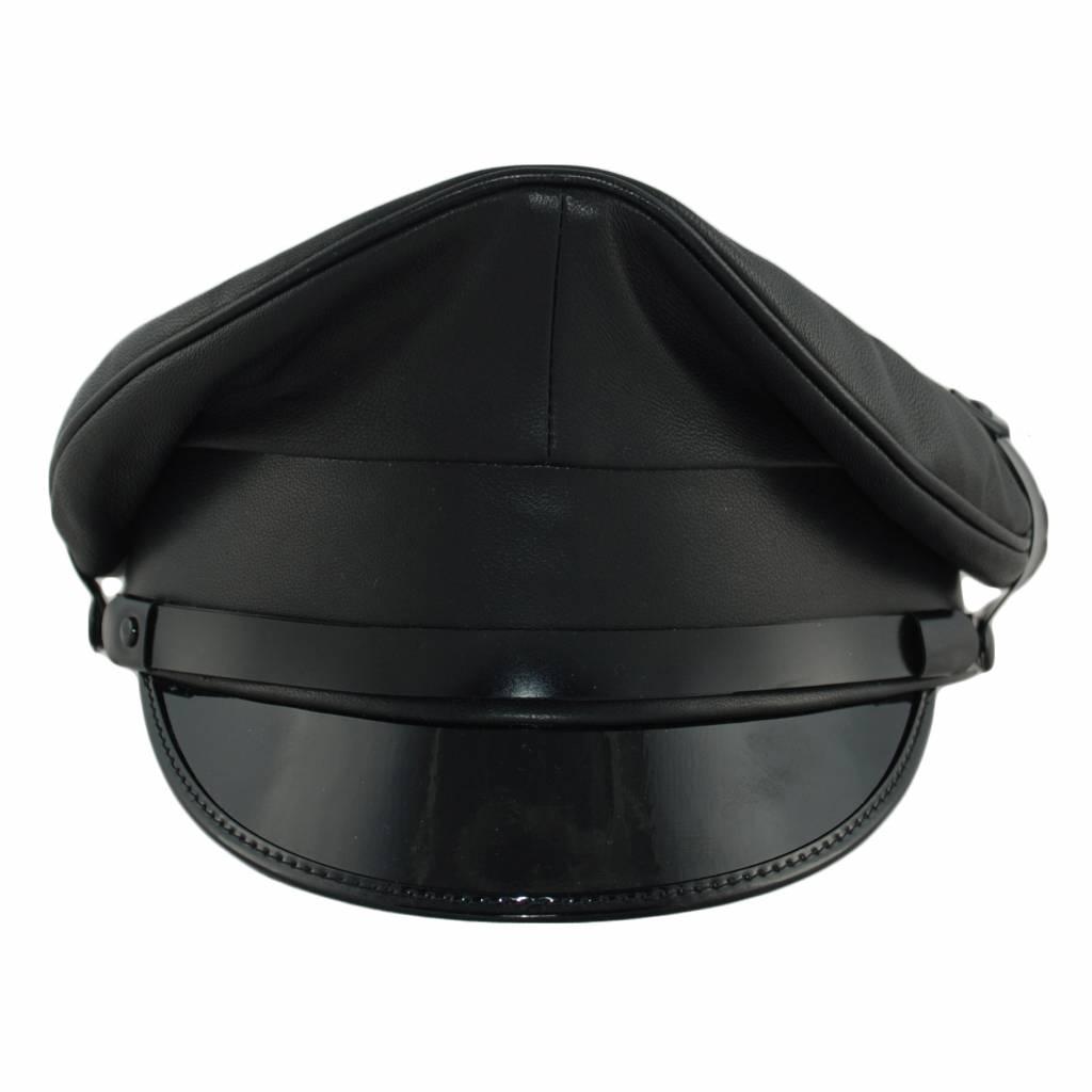 Leather Military Cap, Black Trim