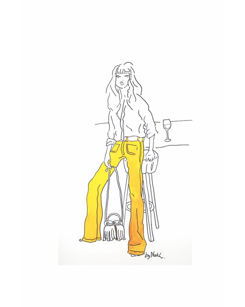 ART PRINT GOLDEN GIRL WITH TROUSERS