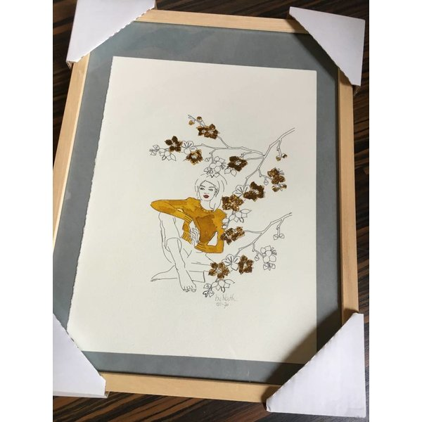 ART PRINT GOLDEN FLOWERS  A3 (framed)