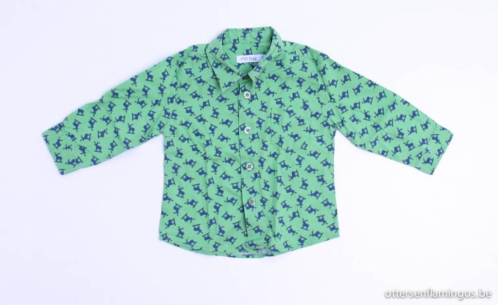 Filou & Friends art.nr. LS060 Groen hemdje hertjes, Petit Filou - 74