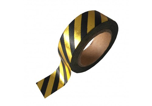 Studio Stationery Washi tape black gold foil stripe, per 9 rolls