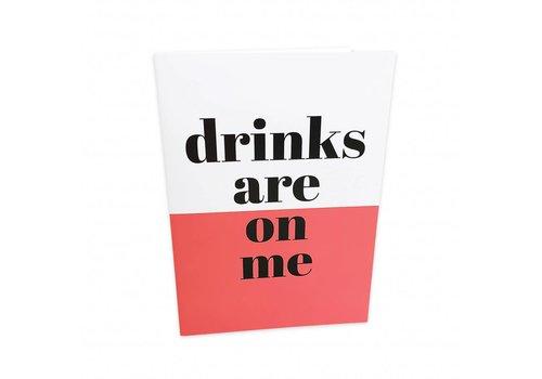 Studio Stationery Greeting card Drinks are on me, per 5 stuks