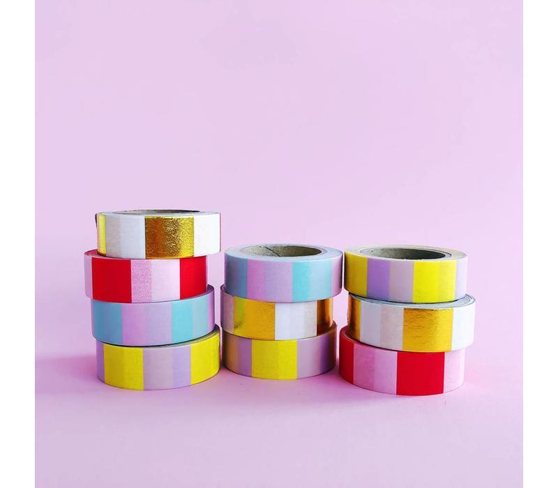 Washi tape Yellow lilac, per 9 stuks