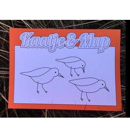 Kaatje&Mup Kleurplaat Ansichtkaart – Strandlopertjes