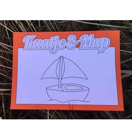 Kaatje&Mup Kleurplaat Ansichtkaart – Zeilboot