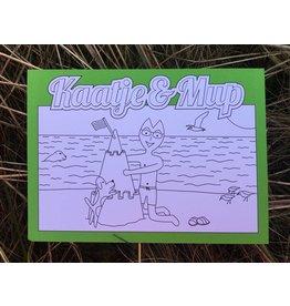 Kaatje&Mup Kleurplaat Ansichtkaart – Zandkasteel