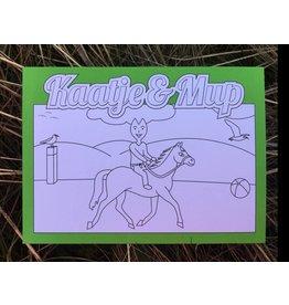 Kaatje&Mup Kleurplaat Ansichtkaart – Paardrijden