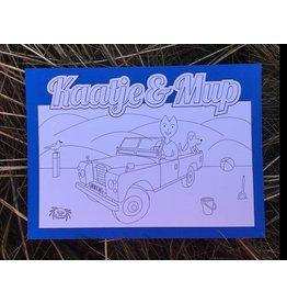 Kaatje&Mup Kleurplaat Ansichtkaart – Strandrijden