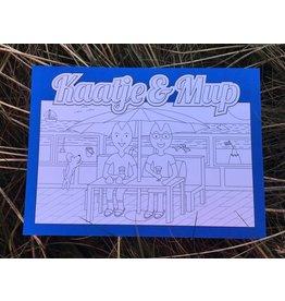 Kaatje&Mup Kleurplaat Ansichtkaart – Drankje drinken strandtent
