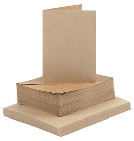 Kaarten en enveloppen, afmeting kaart 10,5x15 cm, afmeting envelop 11,5x16,5 cm, naturel, 50sets
