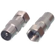 Verloop F-connector male naar IEC male