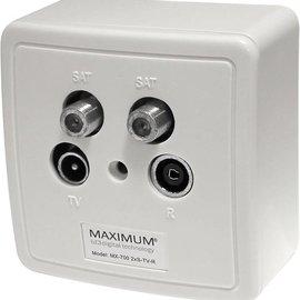 Maximum Maximum Wandcontactdoos in- en opbouw 2x SAT - RTV