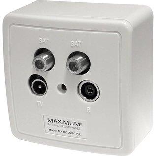 Maximum Wandcontactdoos in- en opbouw 2 x SAT - RTV