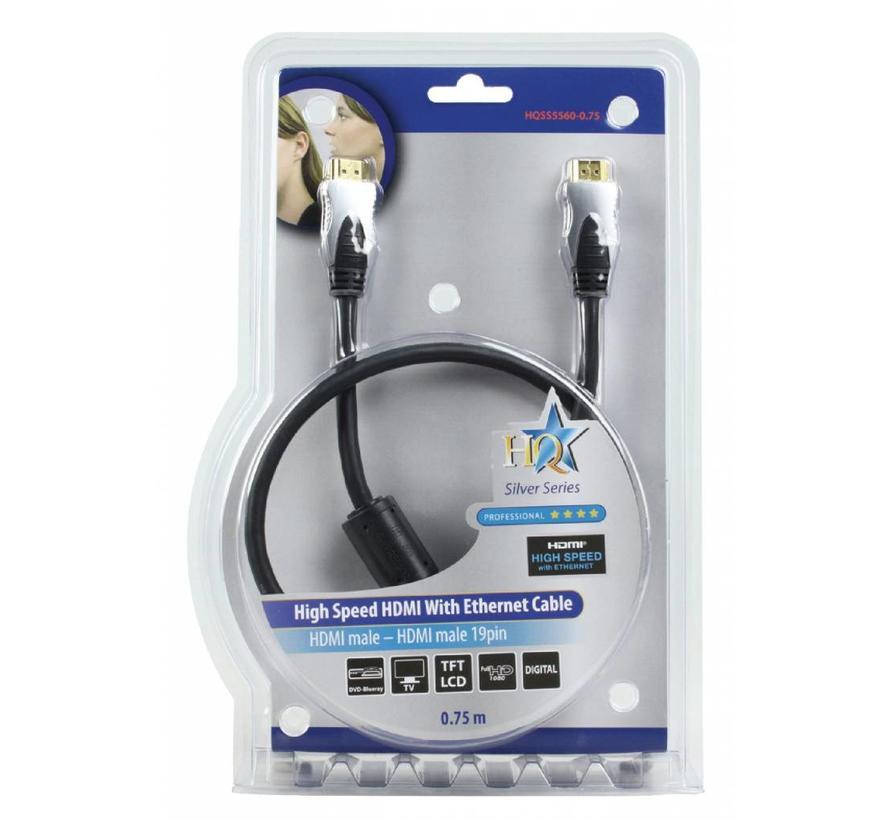 HDMI kabel Hoge kwaliteit High Speed met ethernet 0,75 m