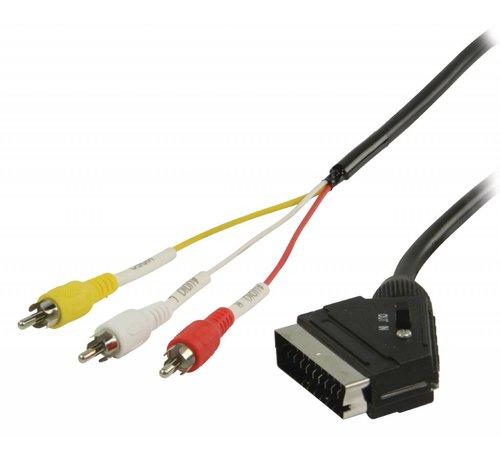 Schakelbare SCART - RCA kabel SCART mannelijk - 3x RCA mannelijk 2,00 m zwart