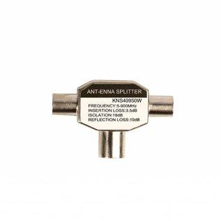 Konig Konig Coax T-Splitter coax vrouwelijk - 2x coax mannelijk metaal