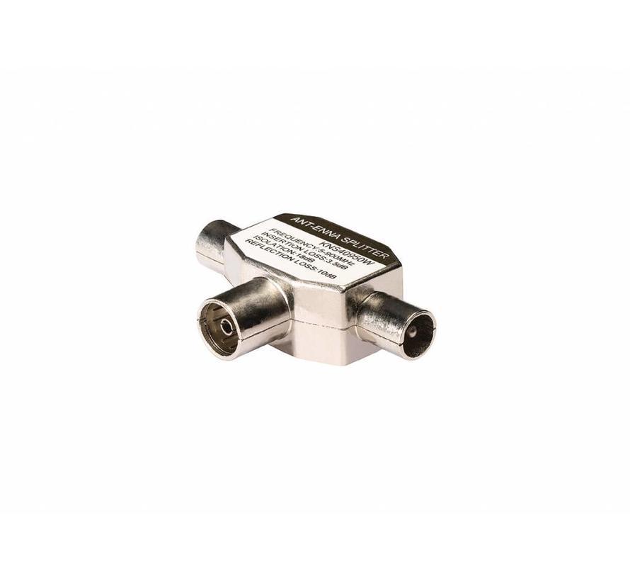 Konig Coax T-Splitter coax vrouwelijk - 2x coax mannelijk metaal