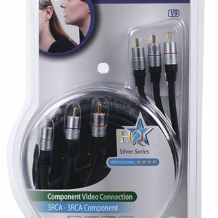 Component Videokabel 3x RCA Male - 3x RCA Male 5m Donkergrijs