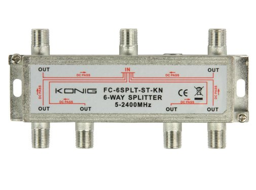 Konig Konig signaal splitter 6 voudig 5-2400Mhz