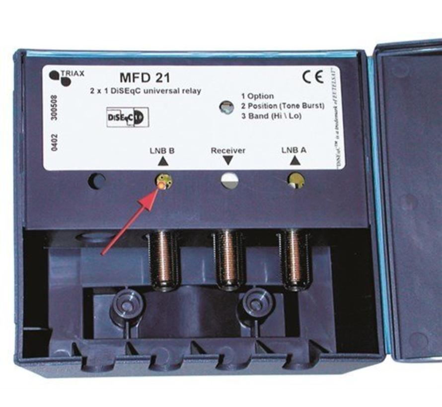 Triax DiSEqC switch 2/1 MFD-21-D incl. behuizing