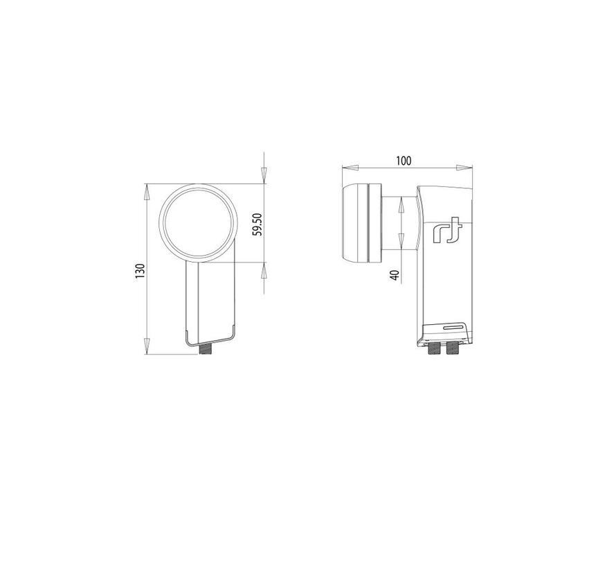 Inverto IDLB-TWNL40-PREMU-OPP Black Premium Twin 40mm LNB