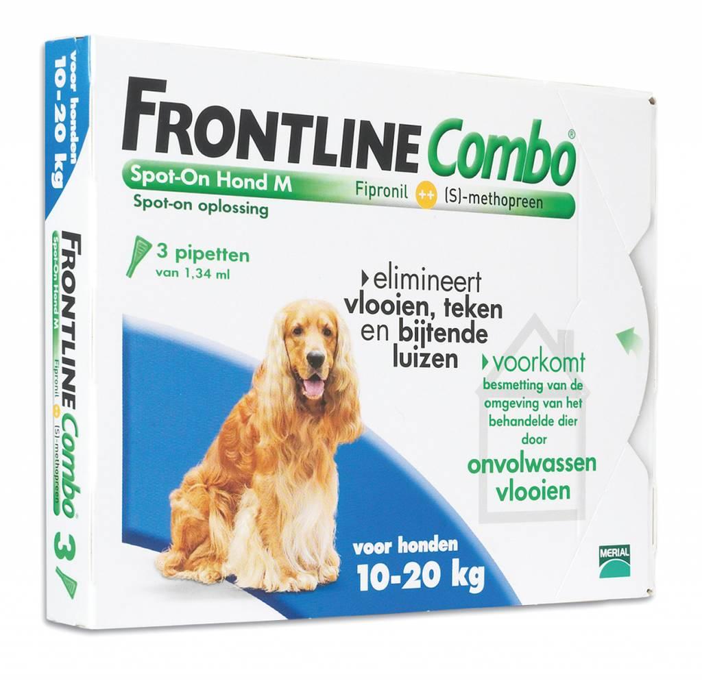 Merial Frontline Combo M voor honden 10kg tot 20kg - tegen vlooien en teken - 3 of 6 pipetten
