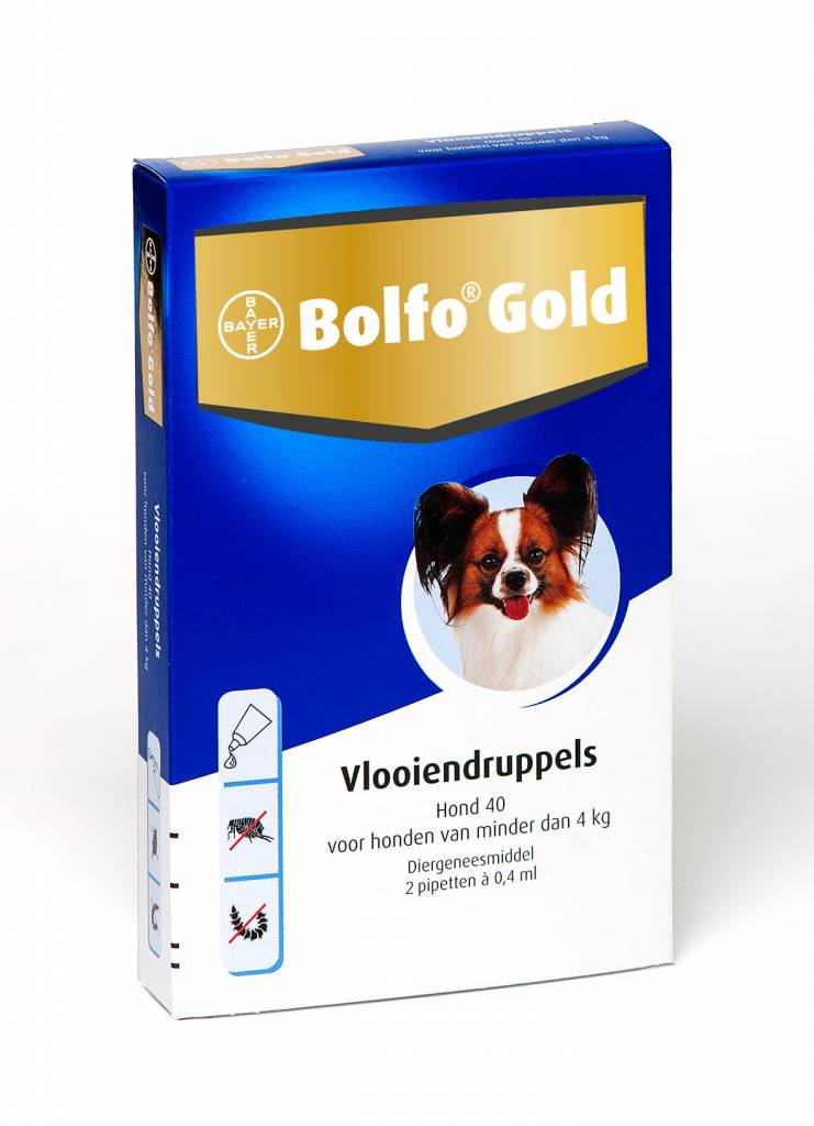 Bayer Bolfo Gold 40 voor honden tot 4kg | tegen vlooien - 2 pipetten