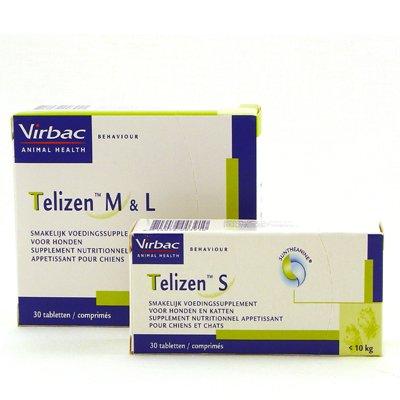 Virbac Telizen 30 tabletten - tegen angst en stress bij katten en honden - verkrijgbaar in S en M/L