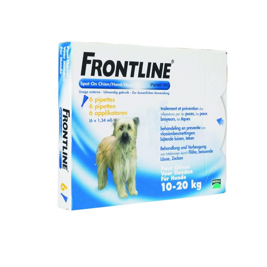 Merial Frontline Spot On M voor honden van 10kg tot 20kg - tegen vlooien en teken - 4 of 6 pipetten