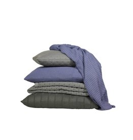 Set Of Cushions And Throw In Olive Grey And Purple Tones