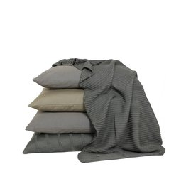 Set Of Cushions And Throw In Olive And Grey Tones