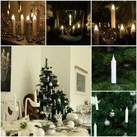 Elambia 10er-Set Weihnachtsbaumkerzen  3D-Flamme Timer weiß