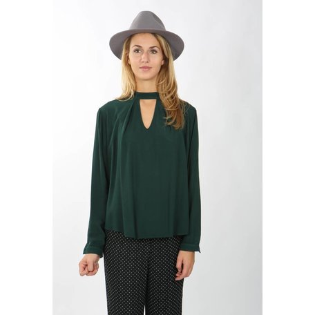 Open Front Blouse Green